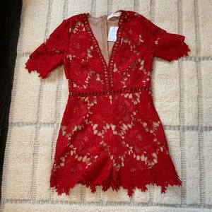 ASTR the label Red Lace Romper NWT